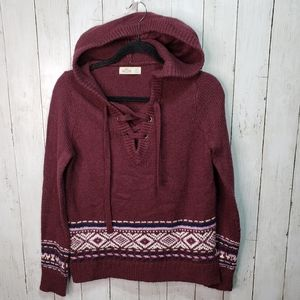 Hollister Maroon Hooded Sweater Lace Up Size Small